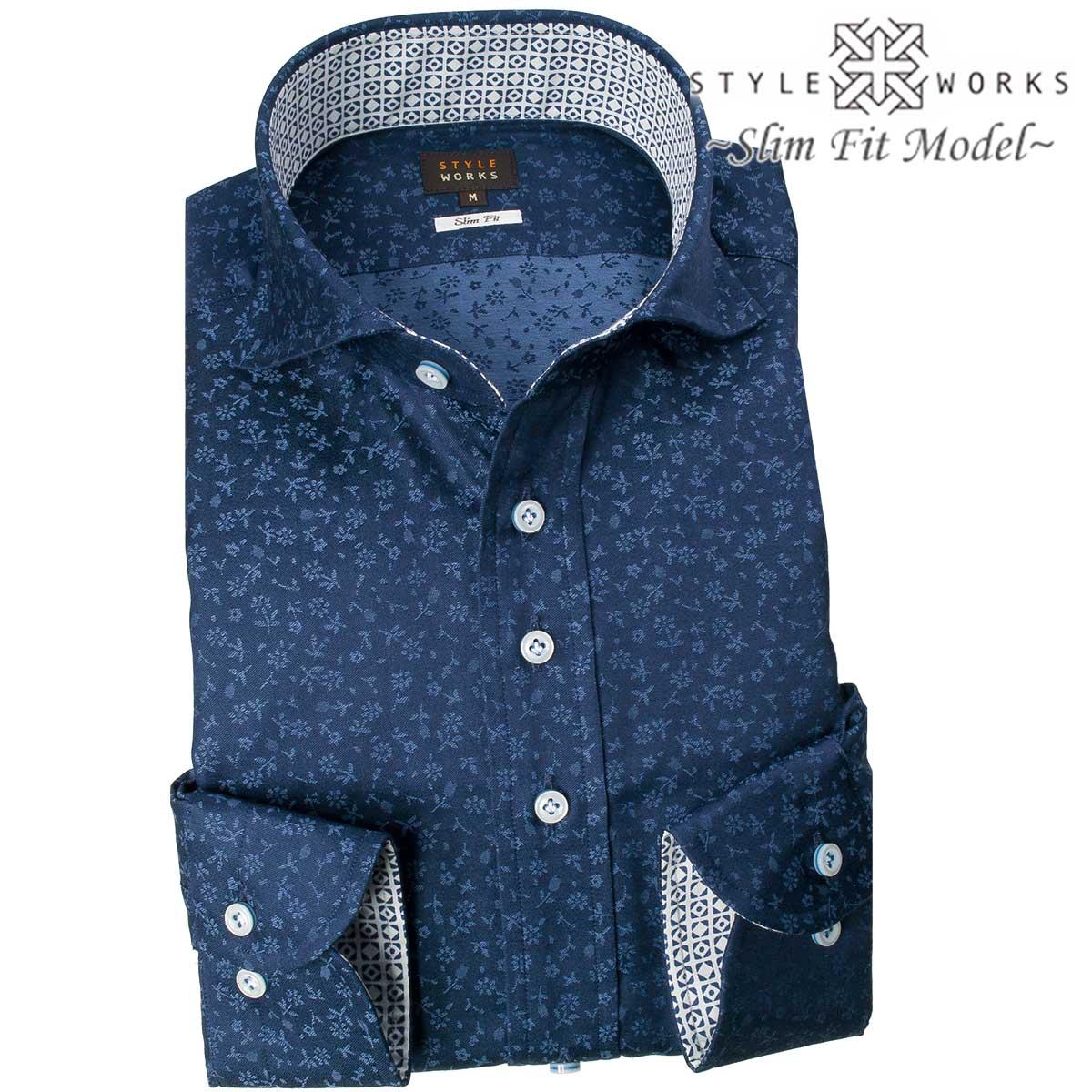 1710 国産綿100長袖ドレスシャツ スリムフィット ネイビージャガード小花柄 カッタウェイワイドカラーメンズ fs3gm