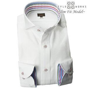 1810 国産綿100長袖ドレスシャツ スリムフィット カッタウェイワイドカラー ホワイト ジャガードエレキギタードットメンズ