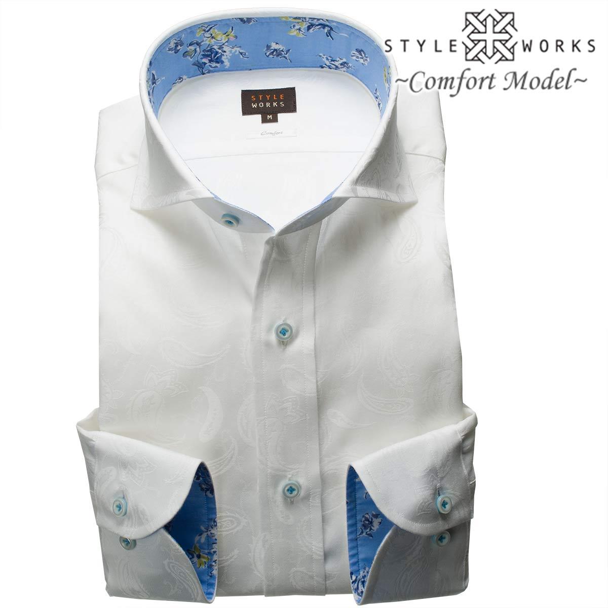 1805 国産コットンドレスシャツ 綿100 コンフォート ホワイトジャガード織総柄ペイズリー カッタウェイワイドカラーメンズ fs3gm