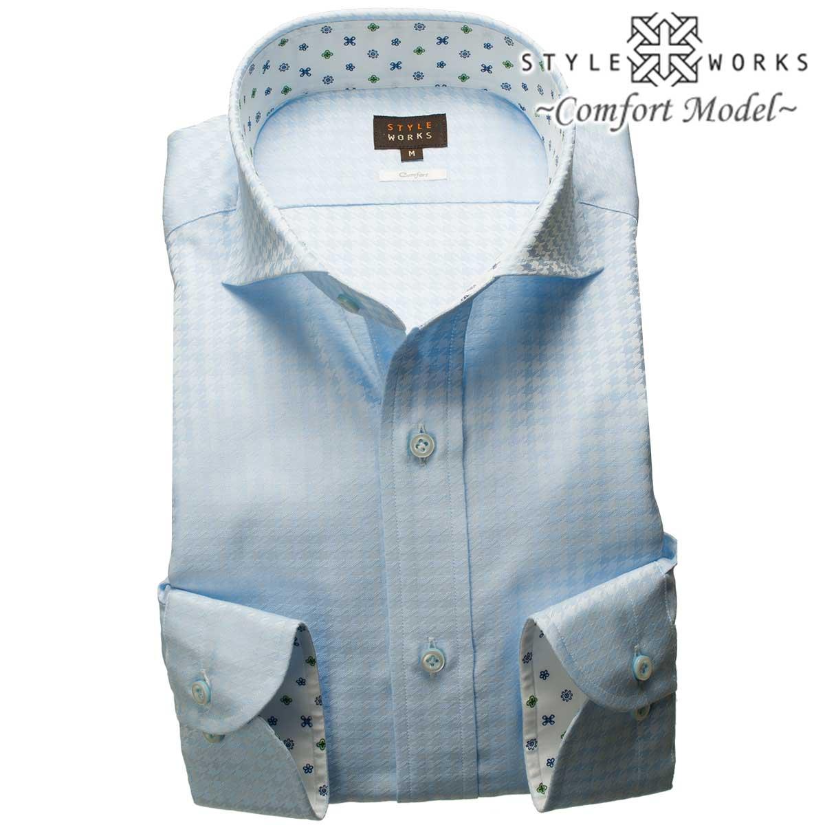 1805 国産コットンドレスシャツ 綿100 コンフォート スカイブルージャガード千鳥格子 カッタウェイワイドカラーメンズ fs3gm