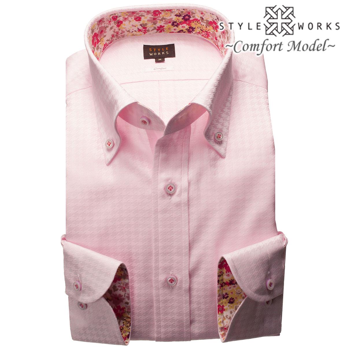 1805 国産コットンドレスシャツ 綿100 コンフォート ピンクジャガード千鳥格子 ボタンダウンカラーメンズ fs3gm