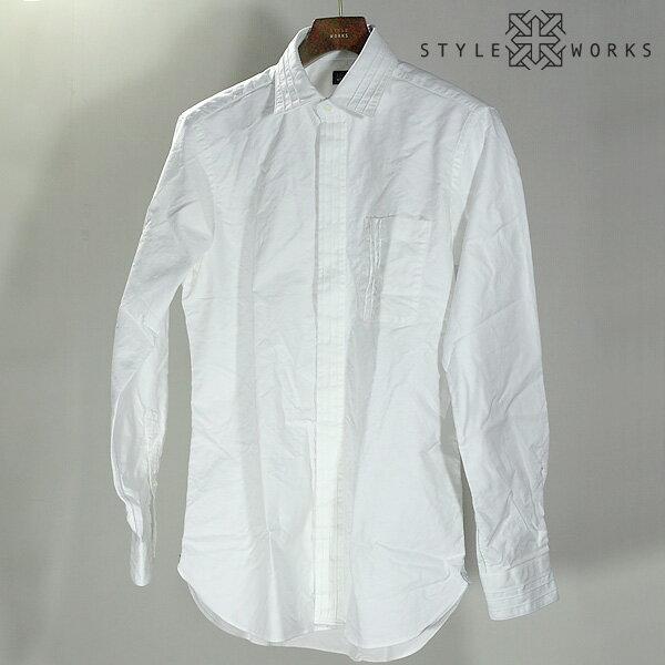 ビジカジ ビジネスカジュアルドレスシャツ ウォッシュ加工オックスフォード ホワイト ショートレギュラーカラータック入りメンズ fs3gm