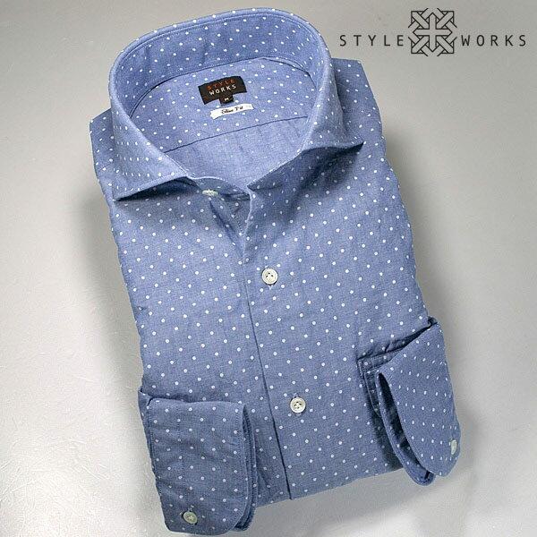 国産カジュアルドレスシャツ 洗い加工 水玉プリント・シャンブレーサックスオックスフォード カッタウェイワイド スリムフィットメンズ fs3gm
