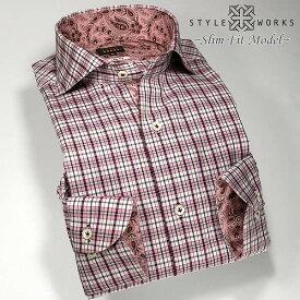 1302 国産長袖メンズドレスシャツ 綿100 カッタウェイワイドカラー ピンクマドラスチェック スリムフィットメンズ fs3gm