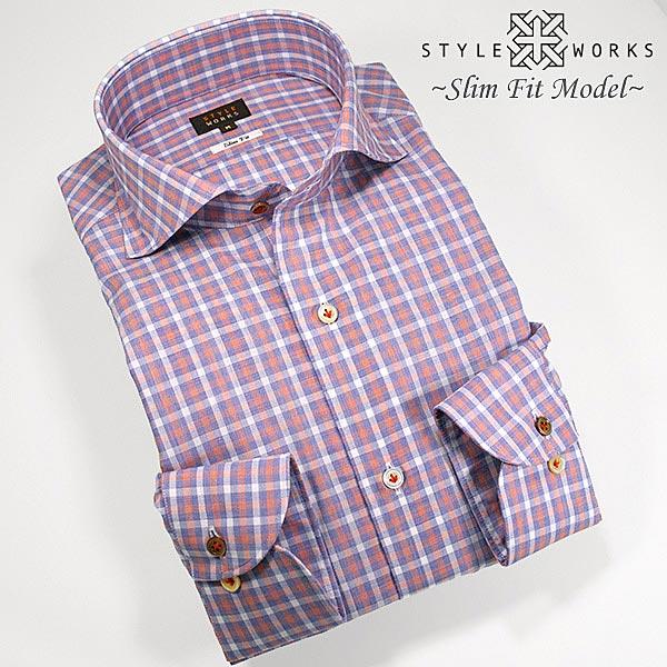 1304 国産長袖ドレスシャツ 綿100 スリムフィット トリコロールギンガムチェック カッタウェイワイドカラー メンズ fs3gm