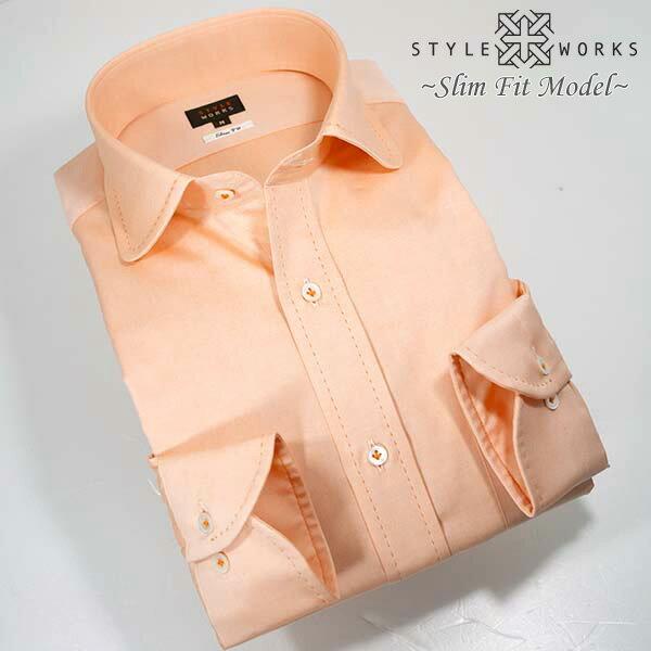 1304 国産長袖メンズドレスシャツ 綿100 スリムフィット オレンジ オックスフォード ハンドステッチラウンドカラーメンズ fs3gm
