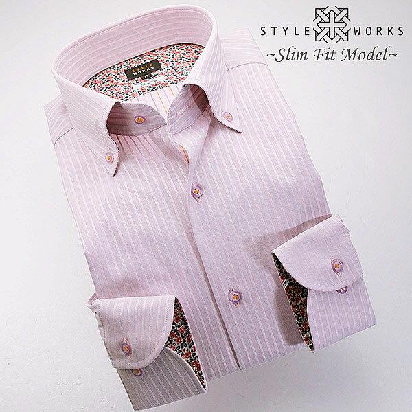 1307 国産コットンドレスシャツ 綿100 スリムフィット パープルドビーストライプ ボタンダウンカラーメンズ fs3gm
