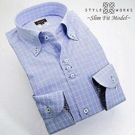 1306 国産長袖純綿ドレスシャツ スリムフィット スカイブルーオーバーチェック ボタンダウンカラーメンズ fs3gm