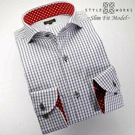1307 国産コットンドレスシャツ 綿100 スリムフィット グレー&ネイビーチェック柄 カッタウェイワイドカラーメンズ fs3gm