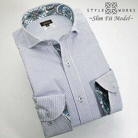 1306 国産長袖純綿ドレスシャツ スリムフィット スカイブルーシアサッカーストライプ カッタウェイワイドカラーメンズ fs3gm