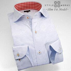 1308 国産コットンドレスシャツ 綿100 スリムフィット スカイブルージャガード迷彩柄 カッタウェイワイドカラーメンズ fs3gm