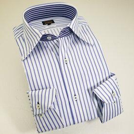 1309 国産コットンドレスシャツ 綿100 スリムフィット ブルーストライプ レギュラーカラーメンズ fs3gm