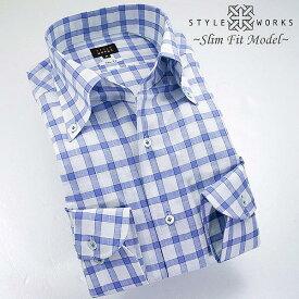 1308 国産スラブドレスシャツ 綿100 スリムフィット ブルーチェック イタリアンボタンダウンカラーメンズ 夏活躍 fs3gm
