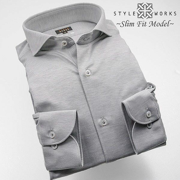 1304 国産長袖ニットドレスシャツ スリムフィット シャンブレーグレー カッタウェイワイドカラーメンズ fs3gm