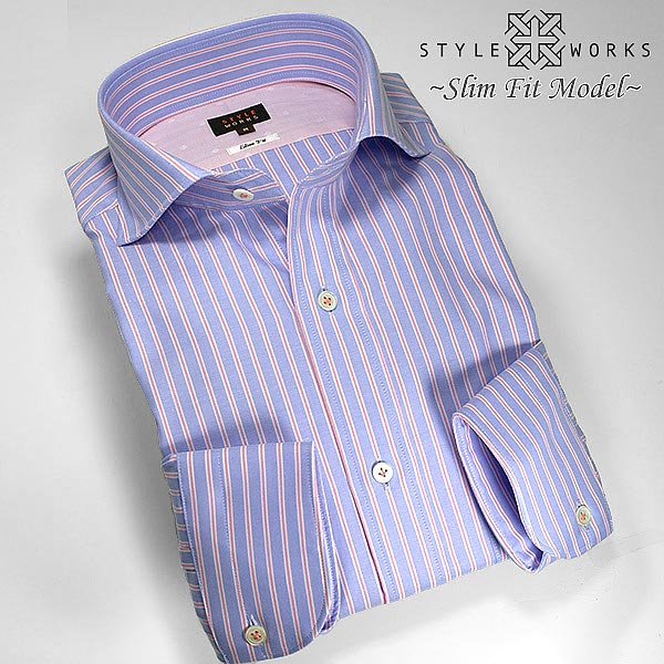1305 国産長袖純綿ドレスシャツ スリムフィット ブルー&ピンク ストライプ オックスフォード カッタウェイワイドカラーメンズ fs3gm