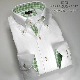 1305 国産長袖純綿ドレスシャツ スリムフィット ホワイト ジャガードダイアチェック ボタンダウンカラーメンズ fs3gm