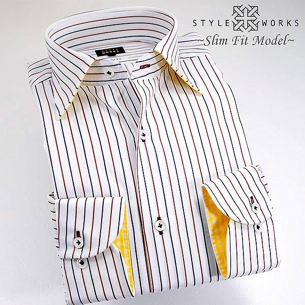 1308 国産コットンドレスシャツ 綿100 スリムフィット レッド&ブルー ダブルストライプ セミワイドカラーメンズ fs3gm