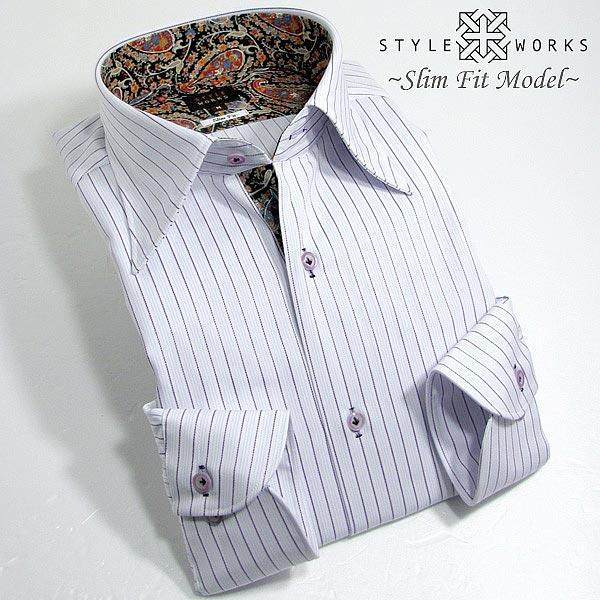1308 国産コットンドレスシャツ 綿100 スリムフィット パープルストライプ レギュラーカラーメンズ fs3gm