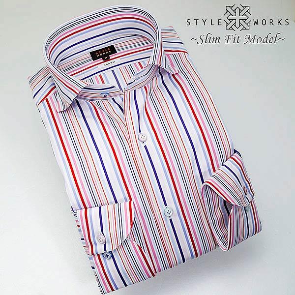 C-1308 国産コットンドレスシャツ 綿100 スリムフィット マルチカラーストライプ カッタウェイワイドカラー。メンズ fs3gm