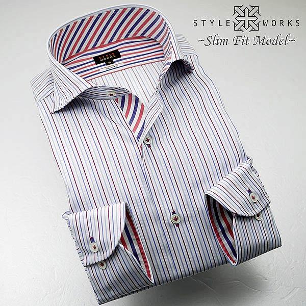C-1310 国産長袖純綿ドレスシャツ スリムフィット トリコロールストライプ カッタウェイワイドカラーメンズ fs3gm