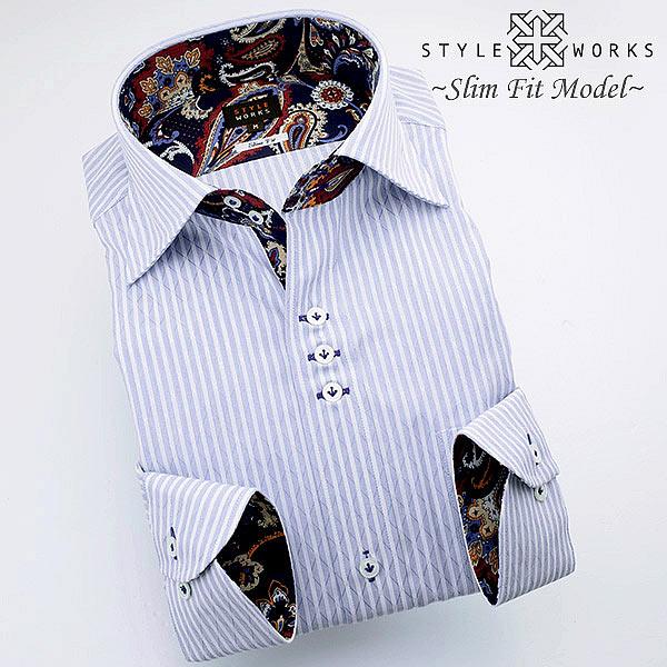 C-1311 国産長袖純綿ドレスシャツ スリムフィット ブルーストライプ&ドビーダイア ドゥエボットーニワイドカラーメンズ fs3gm