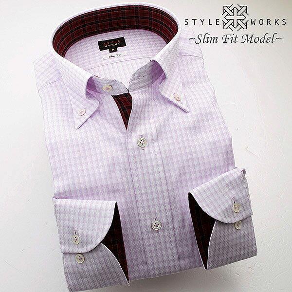 C-1409 国産長袖純綿ドレスシャツ スリムフィット ライトパープルチェック ボタンダウンカラーメンズ fs3gm