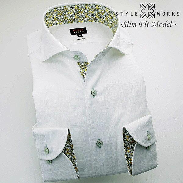 C-1311 国産長袖純綿ドレスシャツ スリムフィット 白ジャガードダブルウィンドウチェック カッタウェイワイドカラーメンズ fs3gm