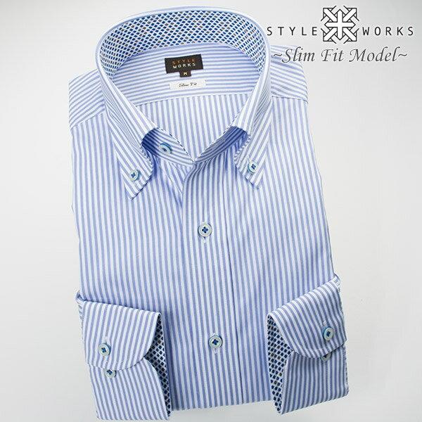 1611 国産長袖綿100ドレスシャツ スリムフィット チョークブルーロンドンストライプ ボタンダウンカラーメンズ fs3gm
