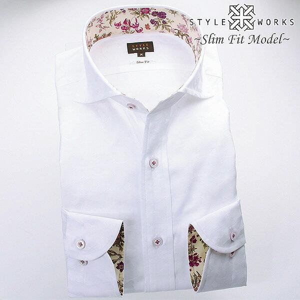 1611 国産長袖ドレスシャツ 綿100 スリムフィット ホワイトジャガード迷彩柄 カッタウェイワイドカラーメンズ fs3gm