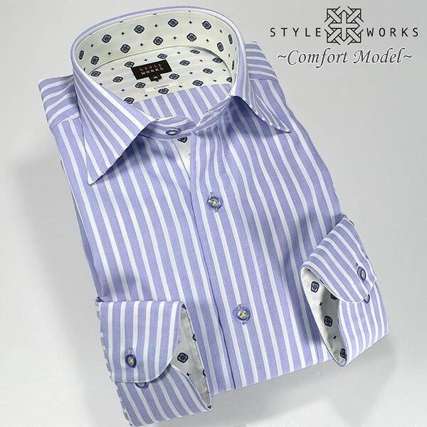 C-1303 国産長袖メンズドレスシャツ 綿100 コンフォート スカイブルーロンドンストライプ セミワイドカラーメンズ fs3gm