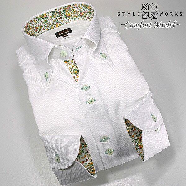 1303 国産長袖メンズドレスシャツ 綿100 コンフォート ホワイトジャガードバイアスストライプ ボタンダウンカラーメンズ fs3gm