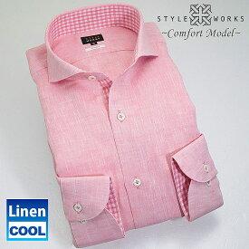 1307 国産麻ドレスシャツ リネン100 コンフォート ピンク カッタウェイワイドカラーメンズ 夏活躍 fs3gm