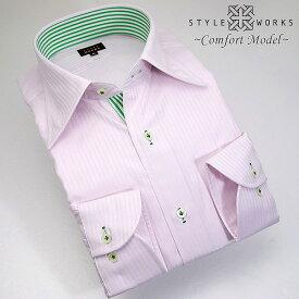 1308 国産コットンドレスシャツ 綿100 コンフォート ライトピンクドビーストライプ レギュラーカラーメンズ