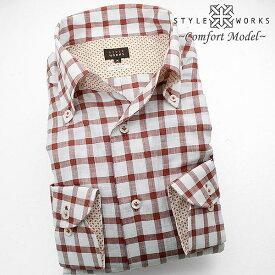 国産スラブドレスシャツ 綿100% コンフォート レットオーバーチェック イタリアンボタンダウンカラーメンズ アンタイド ノーネクタイfs3gm