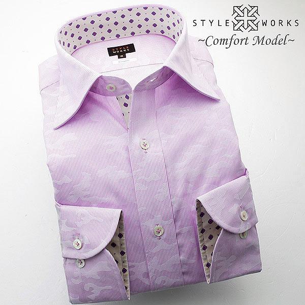 1409 日本製長袖綿100%ドレスシャツ コンフォート ピンクペンシルストライプ&ジャガード迷彩柄 セミワイドカラー