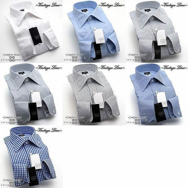 【送料無料】 国産オリジナルドレスシャツ Vintage Line コンフォート 長袖 柄選択有 GIZA88生地使用 セミワイドカラーメンズ fs3gm