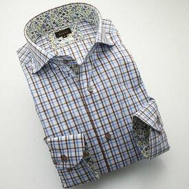 ドレスシャツ ワイシャツ シャツ メンズ 日本製 長袖 綿100%コンフォート カッタウェイワイドカラー ブラウン・スカイ/マルチカラーチェック 1404 【OUTLETS】