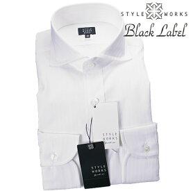 国産ドレスシャツ Vintage Line コンフォート 長袖 GIZA88 ホワイト ドビーダブルストライプカッタウェイワイドメンズ