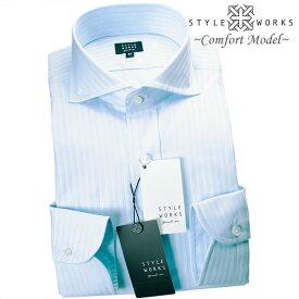 国産ドレスシャツ Vintage Line コンフォート 長袖 GIZA88 ホワイト ライトブルーダブルストライプカッタウェイメンズ