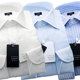 【送料無料】 国産オリジナル長袖ドレスシャツ Vintage Line コンフォート ワイドカラー コットンリネンメンズ 柄選択有