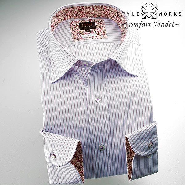C-1512 国産綿100長袖ドレスシャツ コンフォート エンジ・パープルオルタネイトストライプ セミワイドカラーメンズ fs3gm