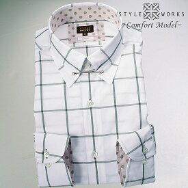 1605 国産綿100長袖ドレスシャツ コンフォート タイバー付きレギュラーカラー グレーウィンドウチェックメンズ