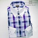 1604 国産綿100長袖ドレスシャツ コンフォート クレリックタブカラー パープル・ネイビー/トーンオントーンチェッ…
