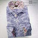 1606 国産長袖ドレスシャツ 綿100 コンフォート パープルジャガード迷彩柄 カッタウェイワイドカラーメンズ fs3gm