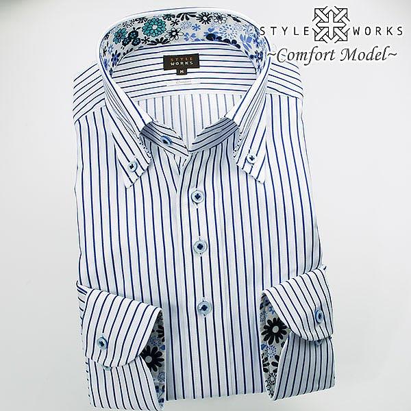 1610 国産長袖綿100ドレスシャツ コンフォート ブルーストライプ ボタンダウンカラーメンズ fs3gm