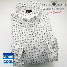1502 オリジナルドレスカジュアルシャツ ホワイトリネンドットプリント ブランドロゴ入り ショートボタンダウンメンズ
