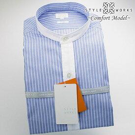 1607 国産綿100長袖カジュアルシャツ 洗い加工 クレリックバンドカラー ブルーストライプ・ツイルシャンブレーメンズ