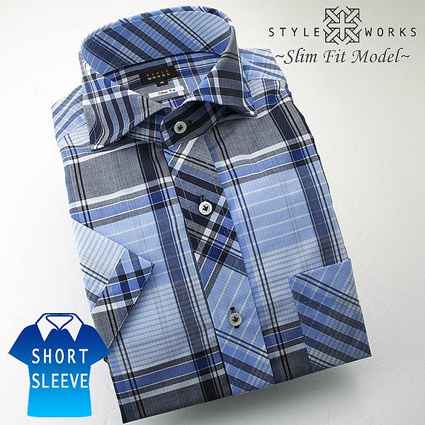 1406 国産半袖ドレスシャツ 綿100 スリムフィット ブルーマルチチェック  カッタウェイワイドカラーメンズ fs3gm
