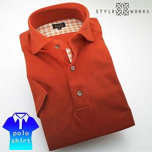 オリジナル半袖ポロシャツ カッタウェイワイドカラー シルケットCOOLMAXサーフニット・ウーリー糸 オレンジ 210218