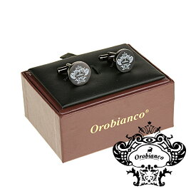 オロビアンコ Orobianco カフリンクス  カフスボタン ラウンド ブランドロゴ ブラックシルバー ORC251B 正規品メンズ